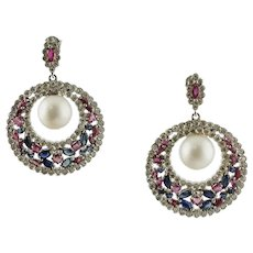 Handcrafted Dangle Earrings White Sea Pearls, Diamonds, Rubies, Blue Sapphires, White Gold