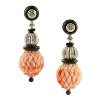 Handcrafted Dangle Earrings  Engraved Red Coral Spheres, Diamonds, Black Agate, White Gold