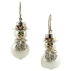 Baroque Pearls, Diamonds, Tsavorite, 14k White and Rose Gold Snowman Dangle Earrings