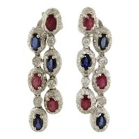 Handcrafted Earrings  Diamonds Sapphires Rubies White Gold
