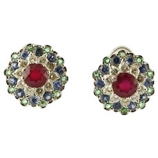 Central Ruby, Diamonds, Sapphires and Emeralds, 14k White gold Stud Earrings