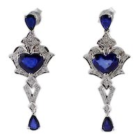 Handcrafted Blue Sapphires, Diamonds, 14k White Gold Vintage Earrings