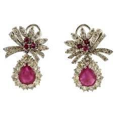 Beautiful Rubies and Diamonds, 18 Karat White Gold Ribbon Earrings
