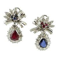 Diamonds, Rubies, Blue Sapphires 18 Karat White Gold Earrings