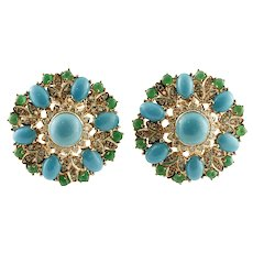 Turquoise, Diamonds, Emeralds, 14k Yellow Gold Vintage Stud Earrings
