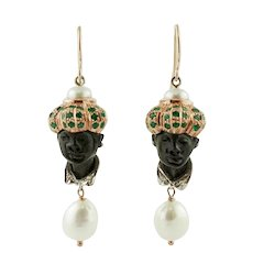 Diamonds,Emeralds,Ebony,Pearls, 9Karat Rose Gold and Silver Moretto Earrings.