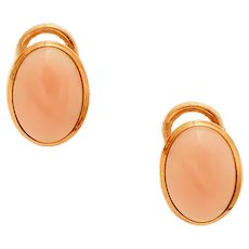 Coral, 18k Yellow Gold Stud Earrings