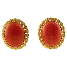18K Yellow Gold and Coral Stud Earrings