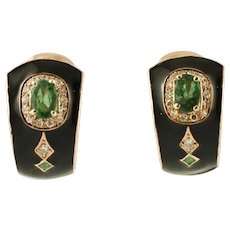Diamonds, Emeralds, 14k Yellow Gold Enamel Vintage Earrings
