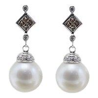 Handcrafted Earrings 5.20 g Australian White Pearls,1.48 ct Brown Fancy Diamonds White Gold