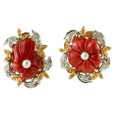 Coral, Pearls, White and Yellow Gold Vintage Flower Ring