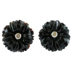 Black Agate and Diamonds Flower Earrings