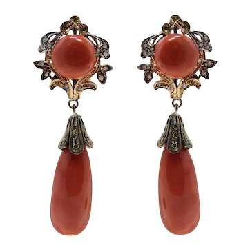 Handcrafted Earrings Red Coral Buttons and Drops,Sapphire,Diamonds, Rose Gold Silver