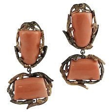 Handcrafted Retro Dangle Earrings Orange Coral, Diamonds, 9 Karat Rose Gold and Silver