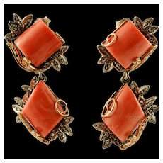 Diamonds, Coral, 9k Rose Gold and Silver Vintage Earrings