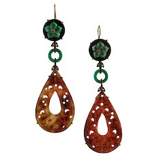 Green and Red Agate, Diamonds, 9 Karat Rose Gold and Silver Pendant Earrings