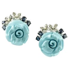 Handcrafted Earrings Diamonds, Sapphires, Little Pearls, Turquoise, Roses, 14 Karat Gold