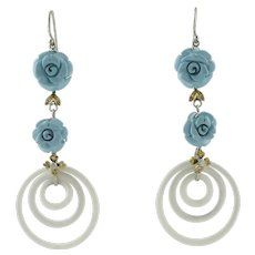 Turquoise paste, White Agate, Diamonds, White and Rose Gold Dangle Earrings