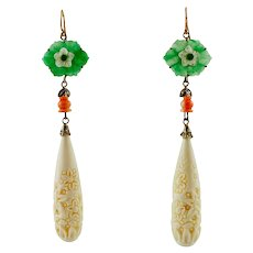 Green Agate, White Hard Stones, Coral, Emeralds, Diamonds, Rose Gold and Silver Dangle Earrings