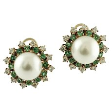 Handcrafted Earrings Diamonds, Emeralds, Pearls, 14 Karat Rose Gold