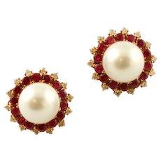 Diamonds, Rubies, South Sea Pearls, 14k Yellow Gold, Vintage Stud Earrings