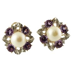 Diamonds, South Sea Pearls, Hard Stones, 14k white& yellow gold Retro Earrings