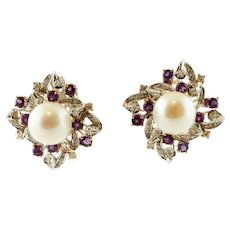Diamonds, Amethysts, Pearls, 14 Karat White and Rose Gold Stud Earrings