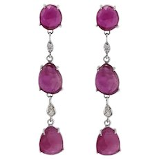 0.19 ct Diamonds and 12.65 ct Rubies White Gold Dangle Earrings