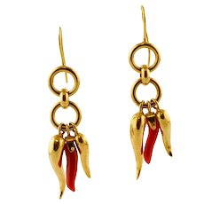 Gold and Coral Lucky Horn Pendant Earrings