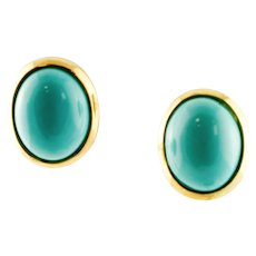 Turquoise and 18k Yellow Gold Vintage Stud Earrings