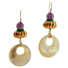 Amethyst,  Mother-of-Pearl, 18k Yellow gold Retro Earrings