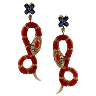 Diamonds, Blue Sapphires, Coral, 14k Yellow gold Vintage Snake Earrings