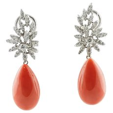 Handcrafted Drop EarringsDiamonds, Red Coral Drops, 18 Karat White Gold