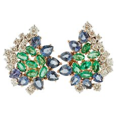 Diamonds, Emeralds, Sapphires, 18k White Gold Stud Earrings