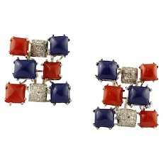 Diamonds, Red Coral, Lapis Lazuli, 14 Karat White Gold Earrings