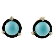 Turquoise, Onyx, Diamonds, White and Yellow Gold Stud Earrings