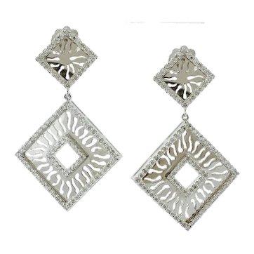 Handcrafted Dangle Earrings Diamonds, 18k White Gold