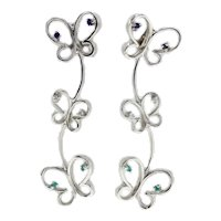 Handcrafted Butterfly Earrings in White Gold