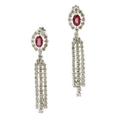 Diamonds, Rubies, 18k White Gold Dangle Earrings