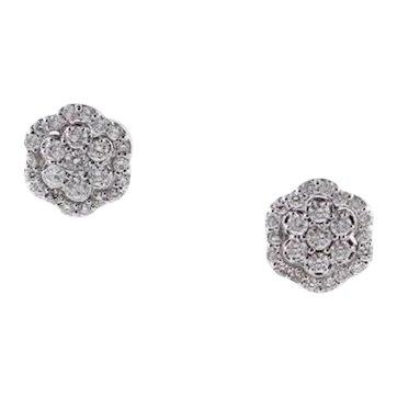 Diamonds, 18 Karat White Gold Flower-Shaped Earrings