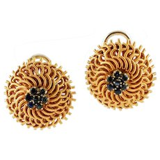 Sapphires and 18k Yellow Gold Nest Earrings