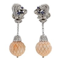 Diamonds,Blue Sapphires,Engraved Pink Coral Spheres,14k White Gold Clip-on Earrings