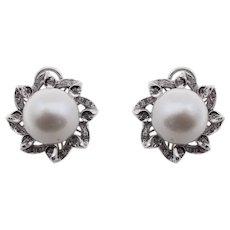 Handcrafted Flower Earrings 0.43 ct Diamonds, 41.73 ct Australian Pearl White Gold