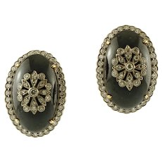 Onyx and Diamonds, 14k White and Yellow Gold Vintage Earrings