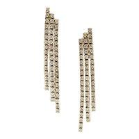Handcrafted Fashion Drop Earrings Diamonds, 14 Karat White Gold