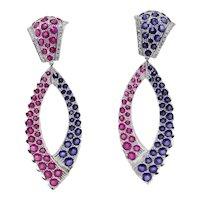 Handcrafted Drop Earring Diamond Sapphire Ruby in 14k Gold
