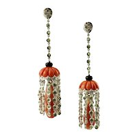 Handcrafted Dangle Earrings Red Coral, Diamonds, Tsavorite, Onyx 14 Karat White Gold