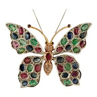 Diamonds, Rubies, Emeralds and Blue Sapphires, 9k Rose Gold and Silver, Butterfly Vintage Brooch/Pendant