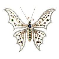 Diamonds, Blue Sapphires, Tsavorite 14k White and Yellow Gold Butterfly Brooch/Pendant