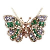 Diamonds, Emeralds, Sapphires, Rose Gold and Silver Butterfly Brooch